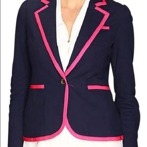 Lilly Pulitzer Navy Blue and Pink Malibu Blazer M